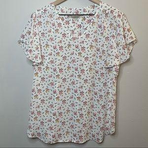 Loft Floral Short Sleeve V Neck Blouse Medium